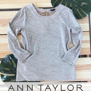 Ann Taylor Luxe Metallic Champagne Gold Silver Top